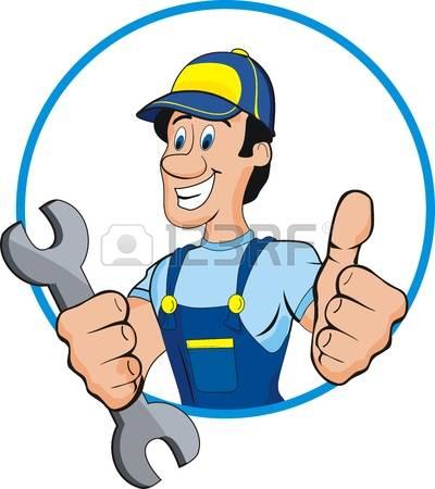 auto repair: Cartoon mechanic with tools
