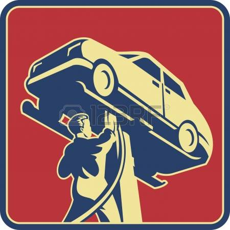 auto repair: Illustration of a mechanic technician car automobile repair viewed from low angle set