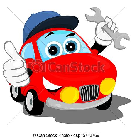 auto repair - the red car in the cap, holding a wrench and.