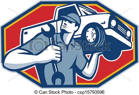 ... Automotive Mechanic Car Repair Retro - Illustration of an.