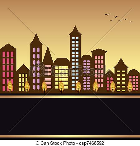 ... Autumn cityscape illustration with colorful building and.