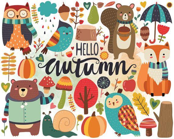 Autumn Woodland Clipart - Fall Clipart, -Autumn Woodland Clipart - Fall Clipart, Autumn Clip Art, Woodland Clipart,  Cute Woodland Animals and Fall Floral Design Elements-8