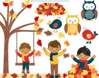 Boys Playing In Leaves V2 Cute Digital C-Boys Playing in Leaves V2 Cute Digital Clipart - Commercial Use OK - Autumn  Clipart, Autumn Boys Graphics, Autumn Leaves, Digital Art-9