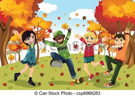 ... Autumn Fall season kids - A vector illustration of kids.