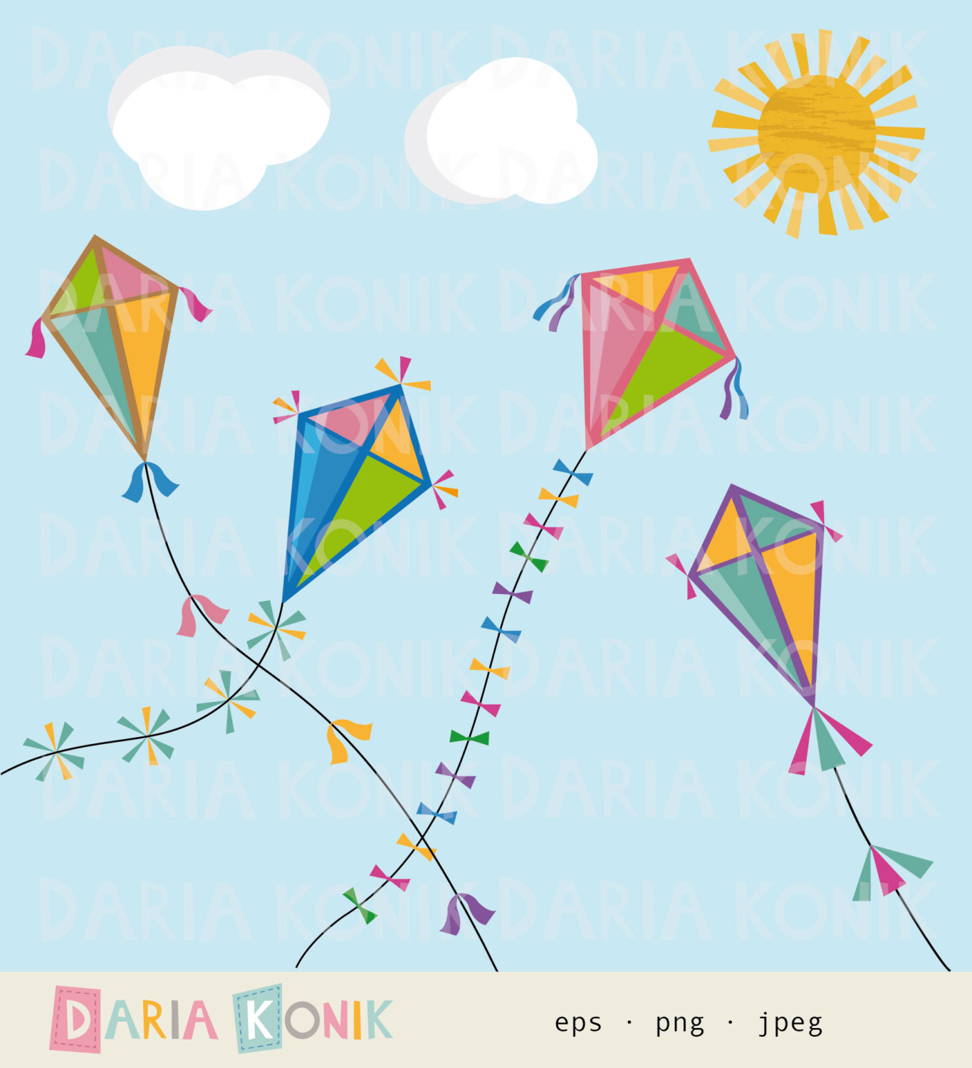 Autumn Kites Clip Art Set-autumn clipart-Autumn Kites Clip Art Set-autumn clipart, fall clipart, kite clipart,  colorful kites, clouds, sun, eps, png, jpeg, instant download-17