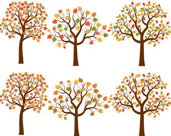 Autumn Tree Clip Art, Fall Tree Clipart,-Autumn tree clip art, Fall tree clipart, Oak tree clip art, Maple tree clipart, Autumn illustration, Fall tree graphic, Digital tree set-5