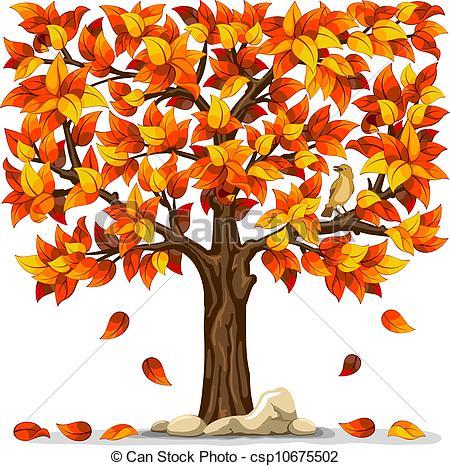 ... Autumn Tree With Bird Isolated On Wh-... Autumn tree with bird isolated on white background-8