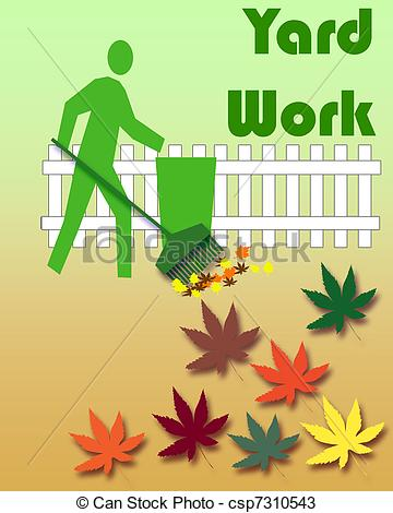 Autumn Yard Work - Gardener Raking Leave-autumn yard work - gardener raking leaves colorful yard work... ...-0