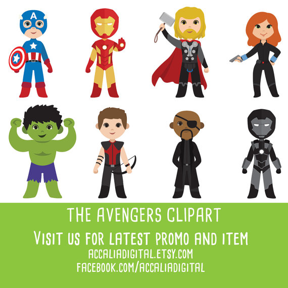 50% OFF Super Hero Clipart Avengers Clipart Cute by accaliadigital