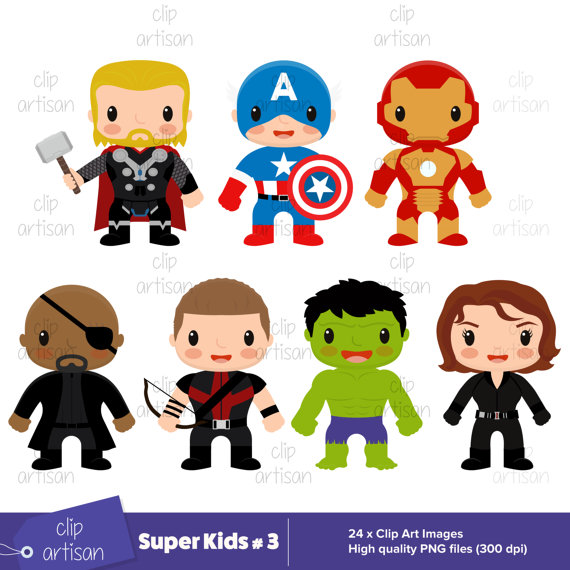 Super Kids Clipart / Avengers Clipart / Super Kids 3 / Superheroes  Printable / Superhero Party