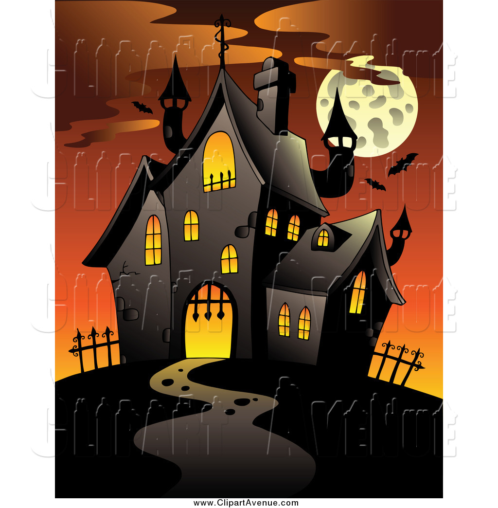 Avenue Clipart Of A Full Moon And Haunted House At Sunset By Visekart