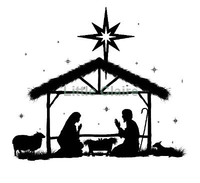 away in a manger Silhouette Clip Art | Christmas Nativity Silhouettes