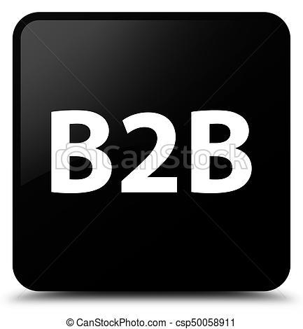 B2b black square button - csp50058911