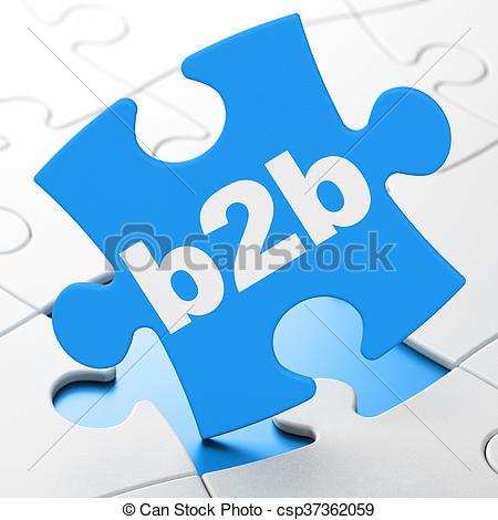 Business concept: B2b on puzzle background - csp37362059