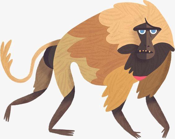 baboon, Hand Painted Monkey, Cartoon Bab-baboon, Hand Painted Monkey, Cartoon Baboon, Animal PNG Image and Clipart-14