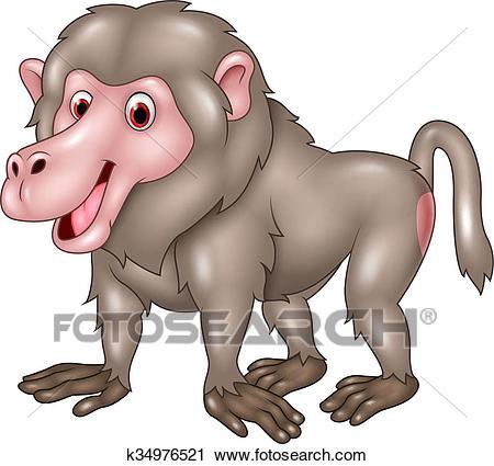 Clipart - Cartoon funny baboon isolated -Clipart - Cartoon funny baboon isolated . Fotosearch - Search Clip Art,  Illustration Murals,-8