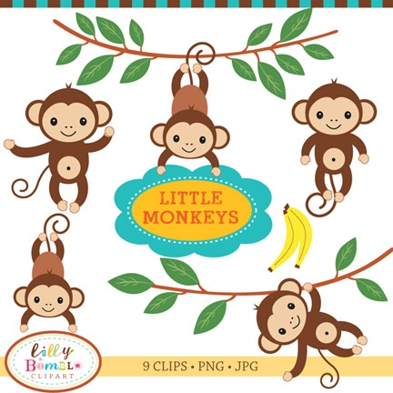 baby monkey clipart black and white