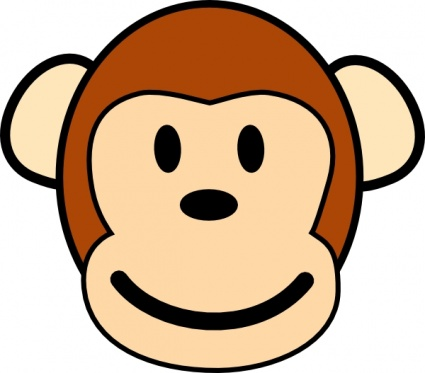 baby monkey clipart black and - Monkey Face Clip Art