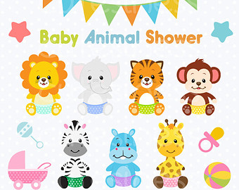 Baby Animal Clipart Baby Jungle Animals Clipart Baby Shower Clipart