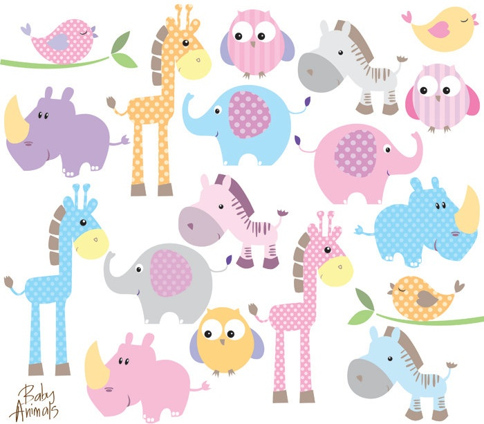 Baby Animal Clipart Clip Art Cute Little-Baby Animal Clipart Clip Art Cute Little Animals Baby Shower Pastel-1