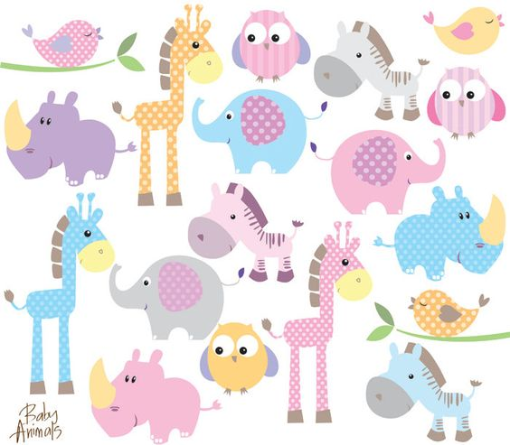 Baby Animal Clipart Clip Art Cute Little Animals Baby Shower Pastel #clip art #baby