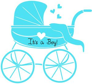 Baby Boy Clipart Image: Baby Shower Graphic of Stroller or Baby Carriage with u0026quot;Itu0026#39;s