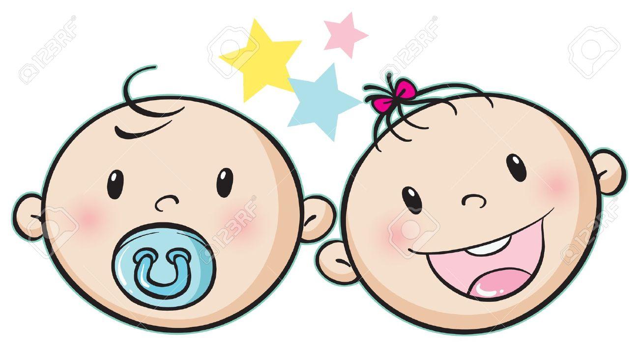 Baby boy face clipart - .