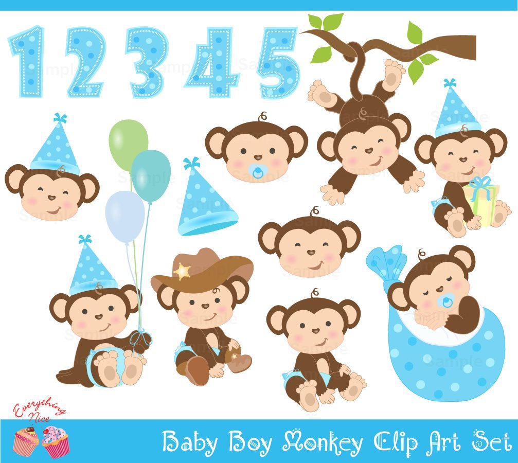 Baby Boy Monkey Clip Art Set By 1everyth-Baby Boy Monkey Clip Art Set By 1everythingnice On Etsy-8