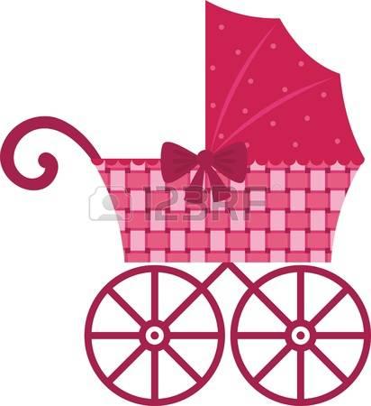 Baby Carriage: Pink Pram Illustration-baby carriage: Pink Pram Illustration-2
