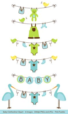 Baby Clip Art Clipart Clothesline Laundry Line Baby Shower Clip Art, Baby Bunting Clip Art