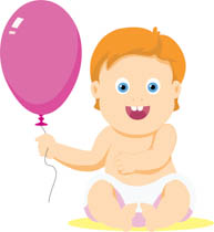 clipart baby holding a blue balloon. Size: 88 Kb