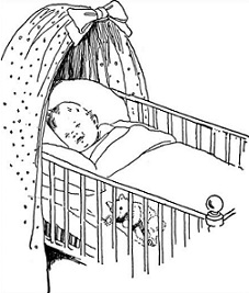 baby crib with sleeping baby - Baby Crib Clipart