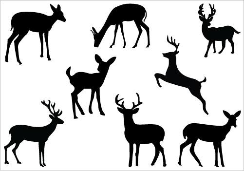 Baby deer silhouette clip art .