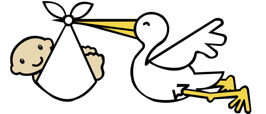 Baby Delivery Stork Clipart .