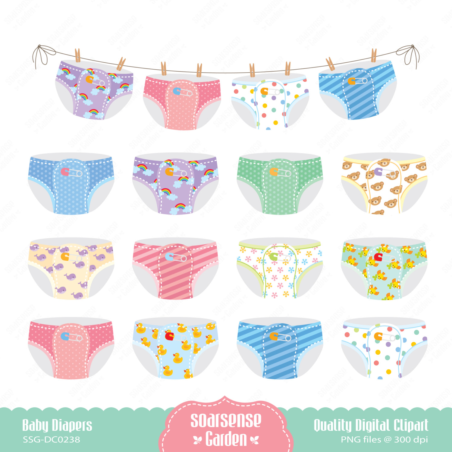 Baby Diapers Digital Clipart .