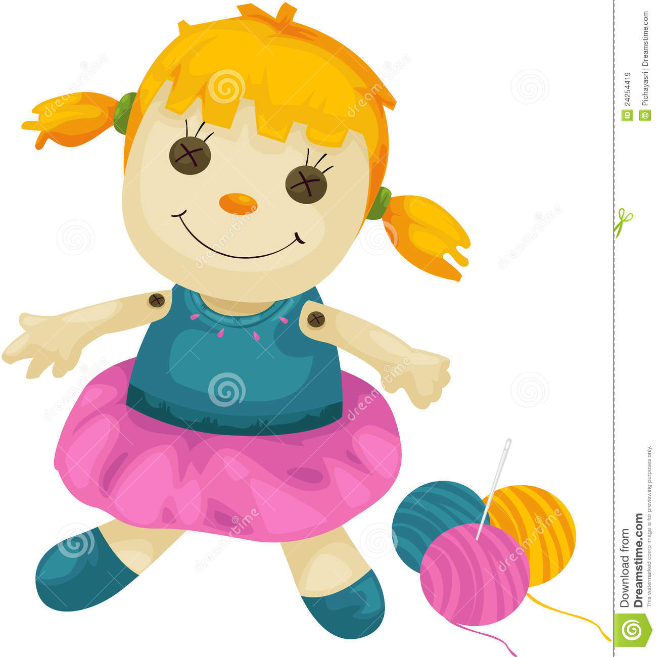 Baby Doll Clipart Fabric Doll With Yarns