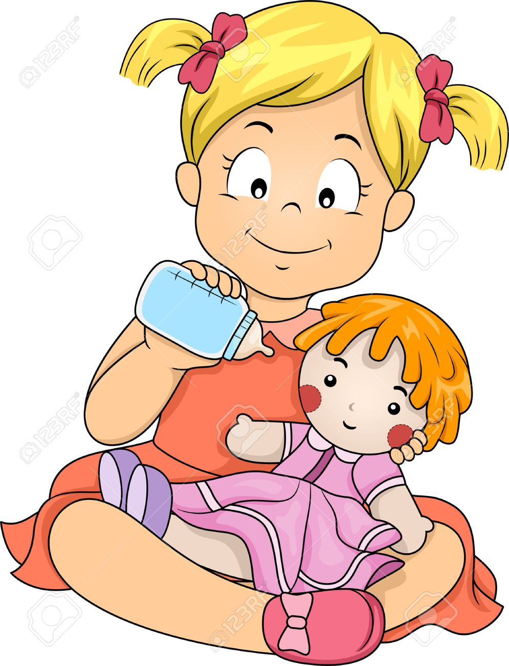 baby doll: Illustration of a Little Girl Feeding Her Doll with Milk