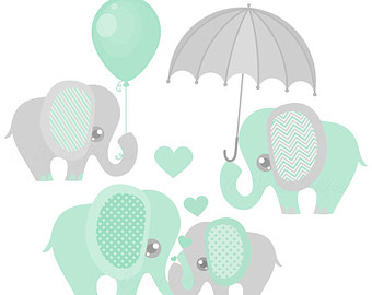 Baby Elephant Decor Clipart / Printable -Baby Elephant Decor Clipart / Printable Elephant Baby Shower Clip Art, mint and grey-10