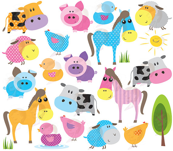 Baby Farm Animals Clipart Cute Farm Animal Bright Colors Horse Pig