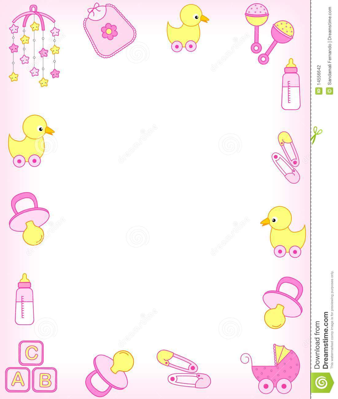 Baby Girl Accessories Border Including C-Baby Girl Accessories Border Including Carriage Safety Pins Pacifier-4