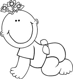 Baby Girl Clip Art Black and .