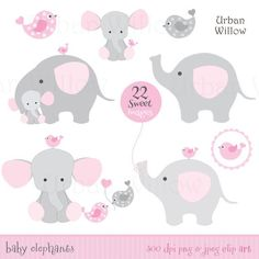 BABY GIRL Clipart, Cute Elephant Clipart-BABY GIRL Clipart, Cute Elephant Clipart, Pink Elephants, Baby .-7