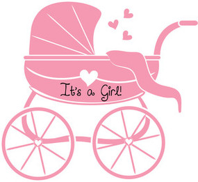 Baby Girl Clipart Image Silhouette Of A Carriage In Pink