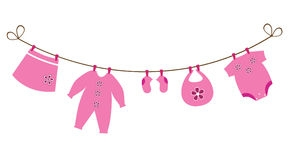 Baby Girl Clothesline Clipart Free. Baby Clothes Line Stock