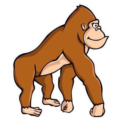Baby Gorilla Clipart Brown Gorilla Side View