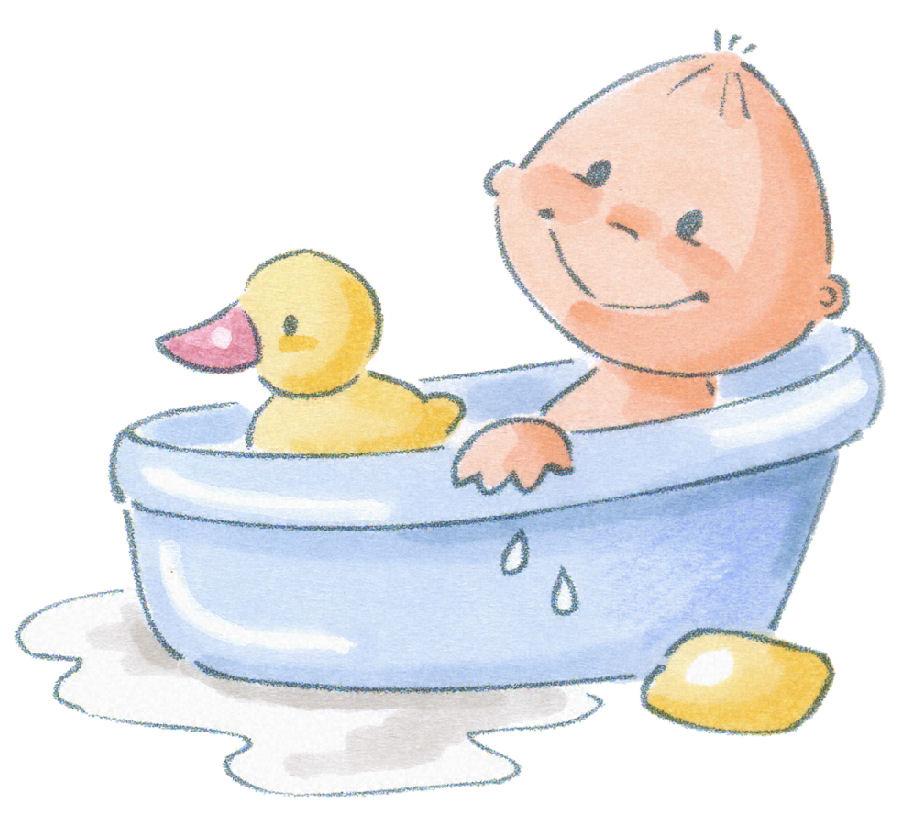 Baby in Tub Clip Art | BEBÉS , hora de Baño y hora de Dormir ilustraciones