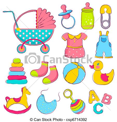 ... Baby Item - illustration of different item for baby.