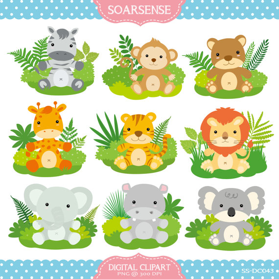 Baby Jungle Animals Clipart By Soarsense On Etsy