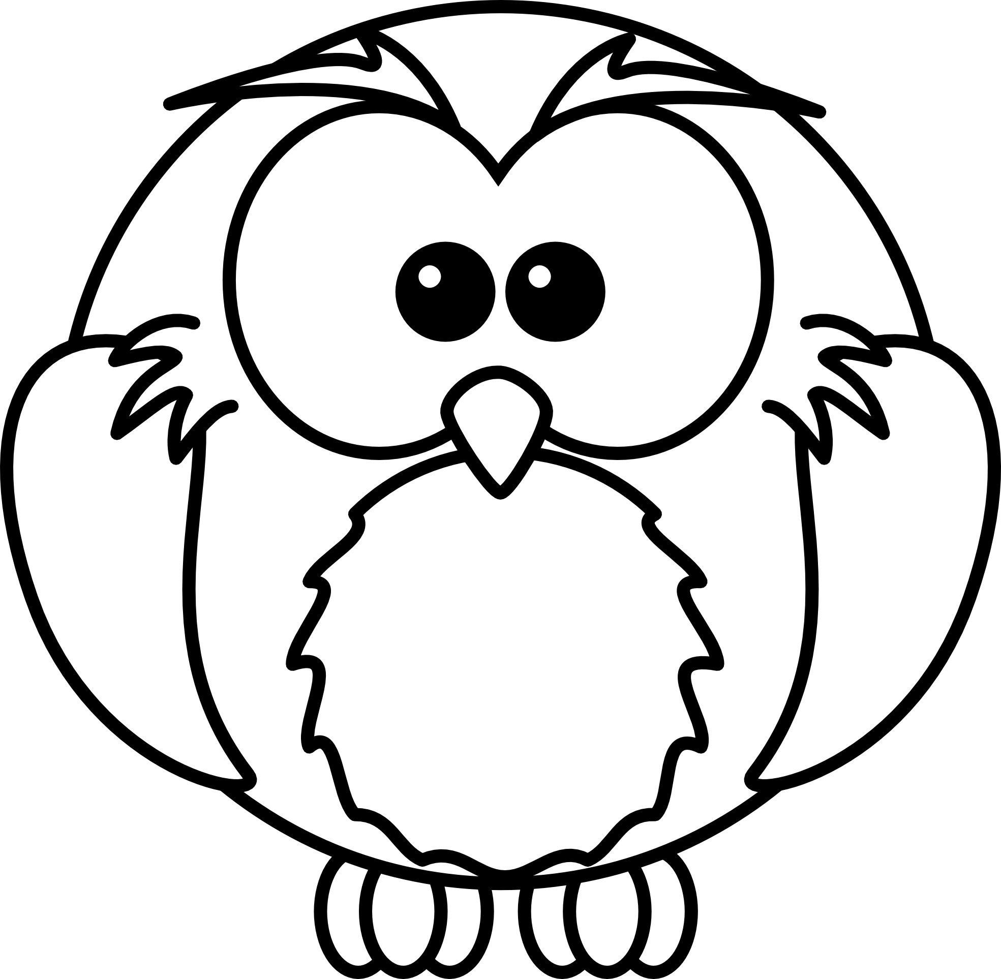 Baby Owl Clipart Black And Wh - Black And White Owl Clip Art