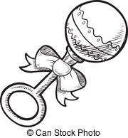 ... Baby rattle sketch - Doodle style baby rattle illustration... Baby rattle sketch Clip Artby ...